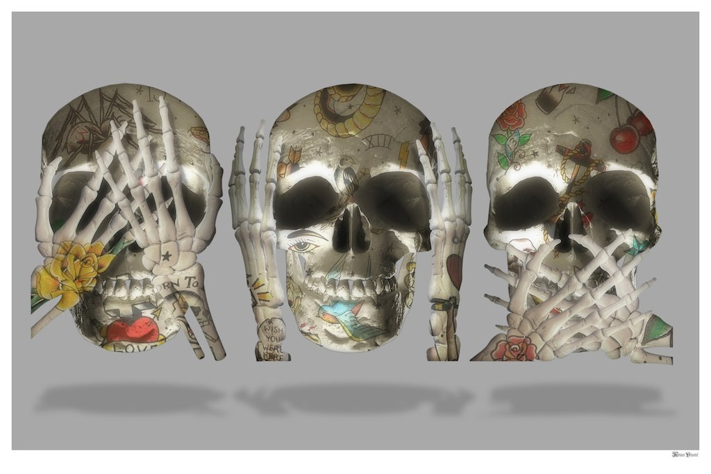 See No Evil (Grey Background) - Large  by Monica Vincent