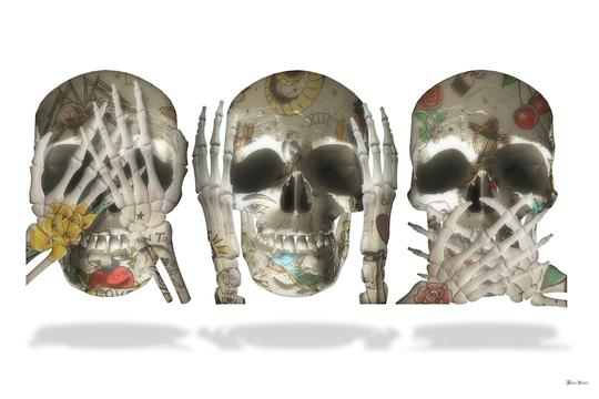 See No Evil (White Background) - Small - Framed by Monica Vincent