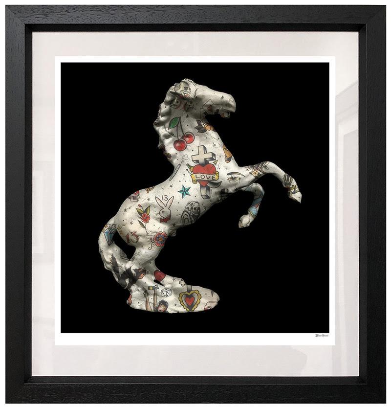 Stallion - Black Background - Small - Framed by Monica Vincent