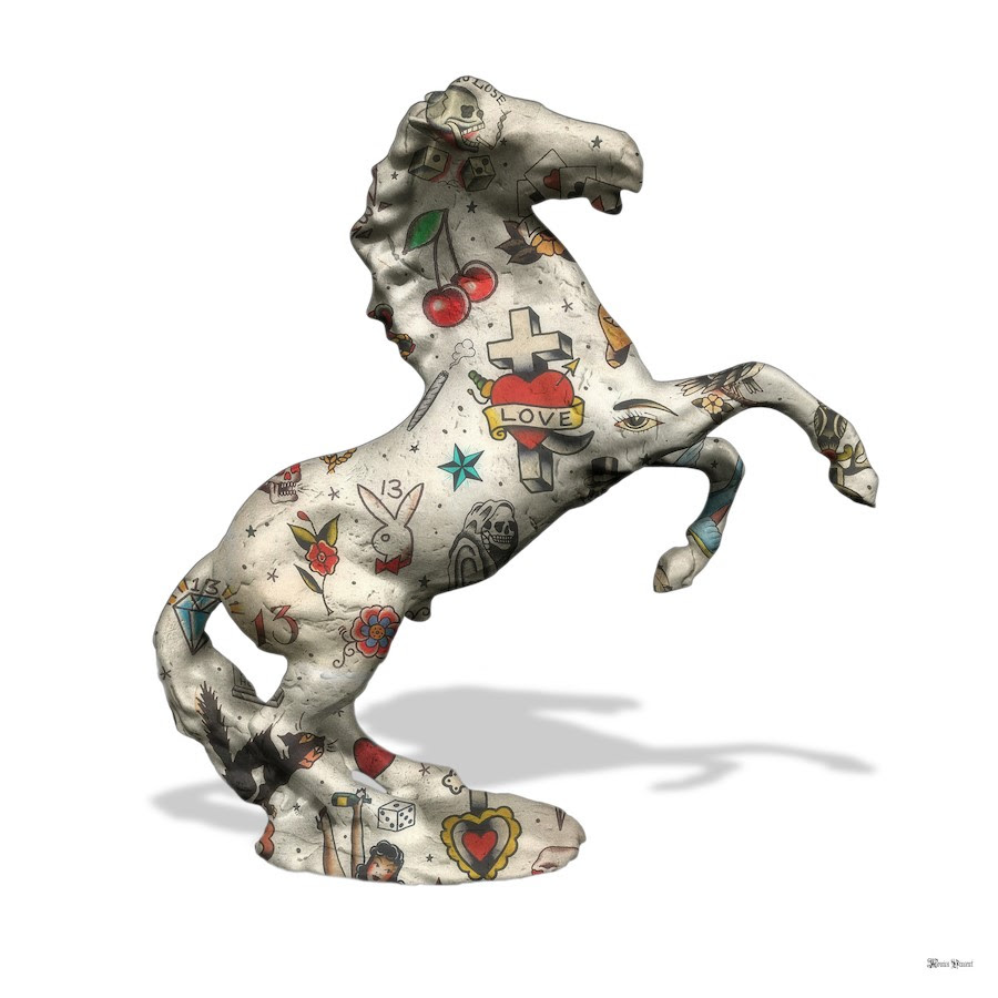 Stallion - White Background - Large by Monica Vincent