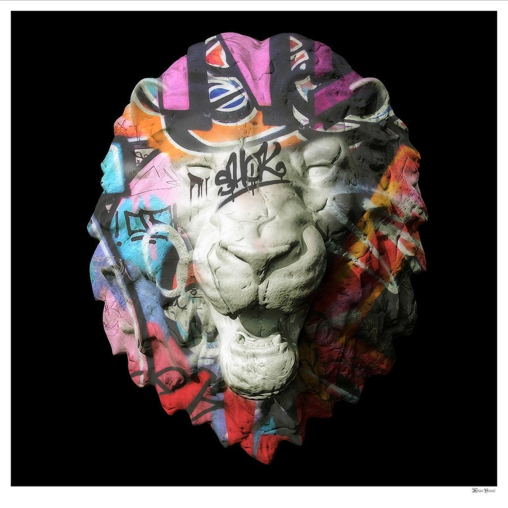 Street Safari - Graffiti Lion Head (Black Background) - Large  by Monica Vincent