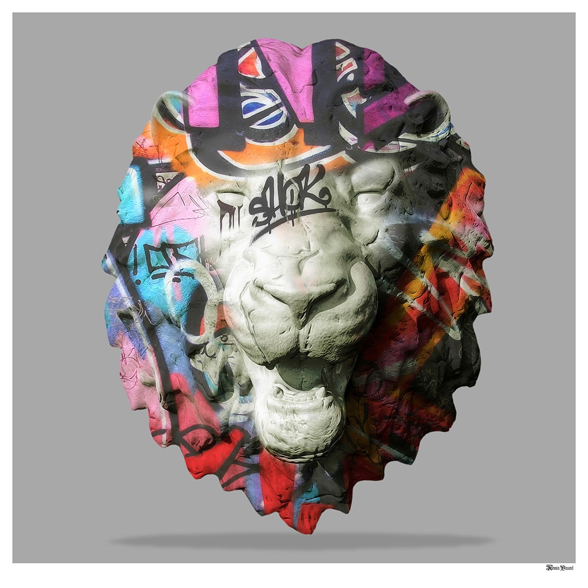 Street Safari - Graffiti Lion Head (Grey Background) - Small  by Monica Vincent