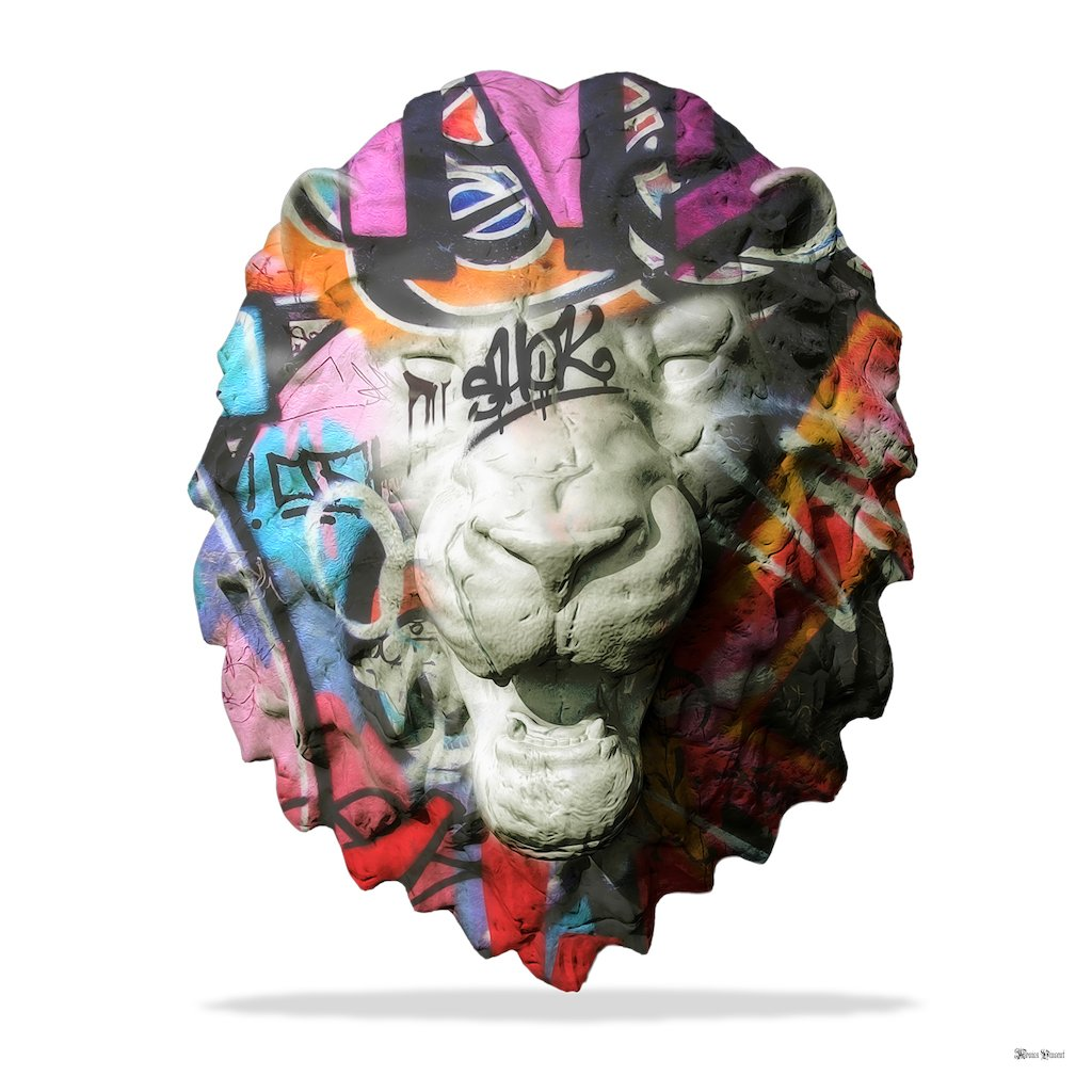 Street Safari - Graffiti Lion Head (White Background) - Small - Mounted - Mounted by Monica Vincent