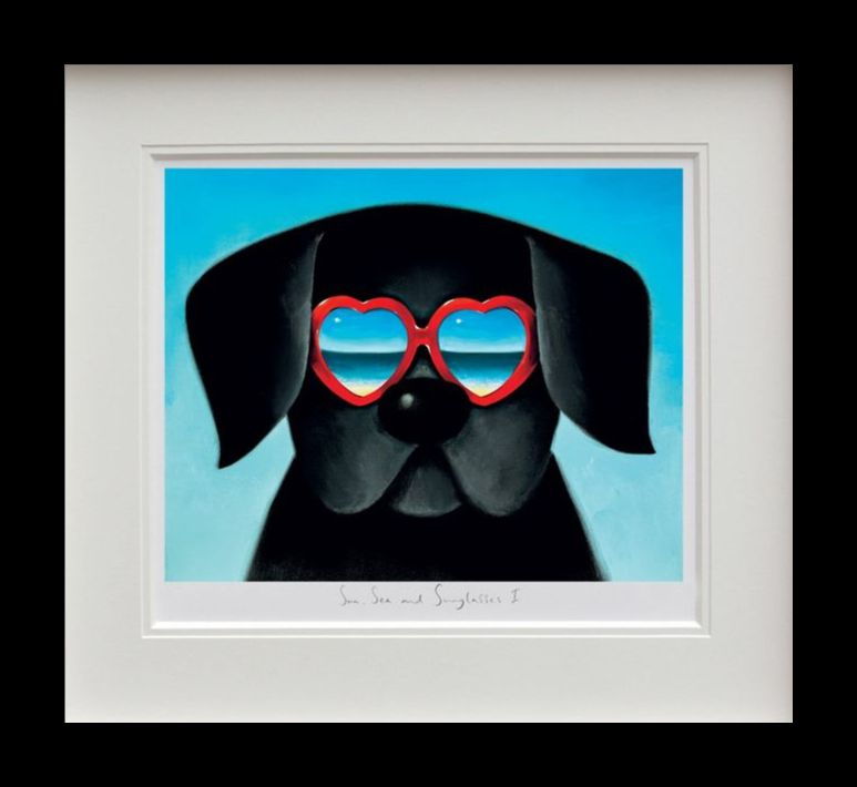 Sun Sea And Sunglasses I - Black Framed by Doug Hyde
