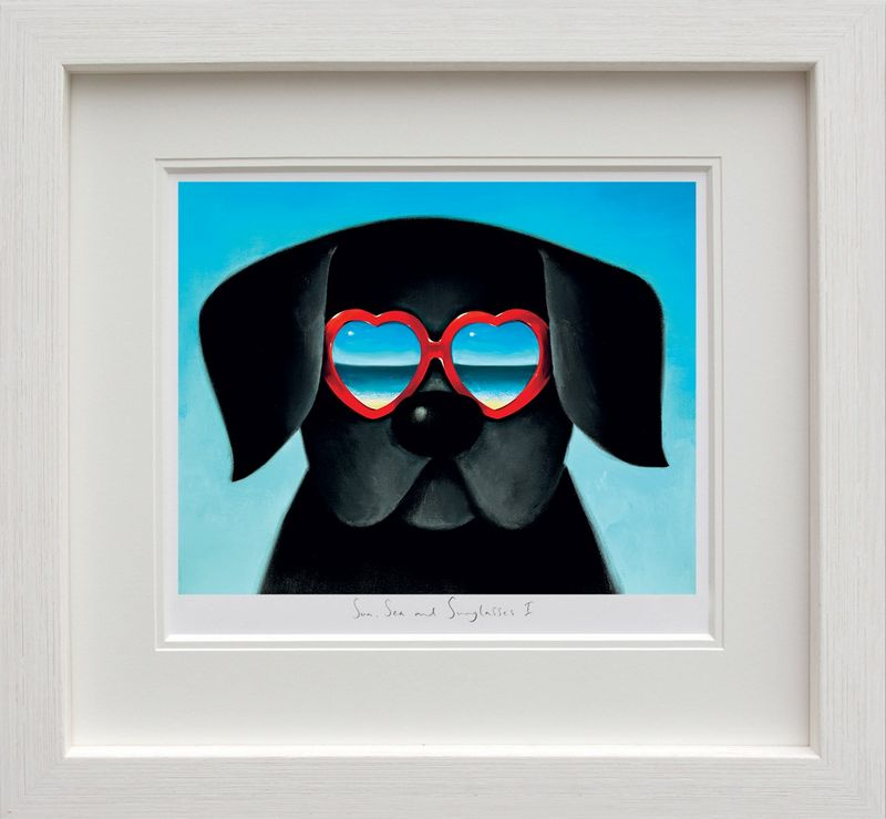 Sun Sea And Sunglasses I - White Framed by Doug Hyde