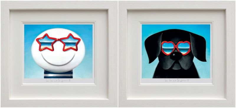 Sun Sea And Sunglasses - Set White Framed by Doug Hyde