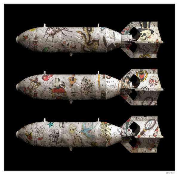 Tattoo Bombs (Black Background) - Small - Framed by Monica Vincent