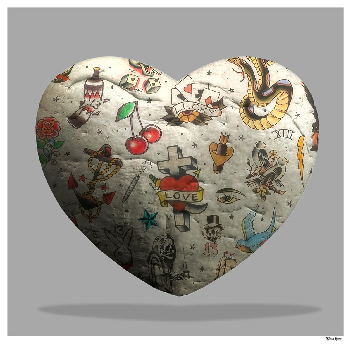 Tattoo Heart (Grey Background) - Small - Framed by Monica Vincent
