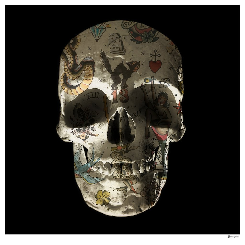 Tattoo Skull (Black Background) - Large - Framed by Monica Vincent