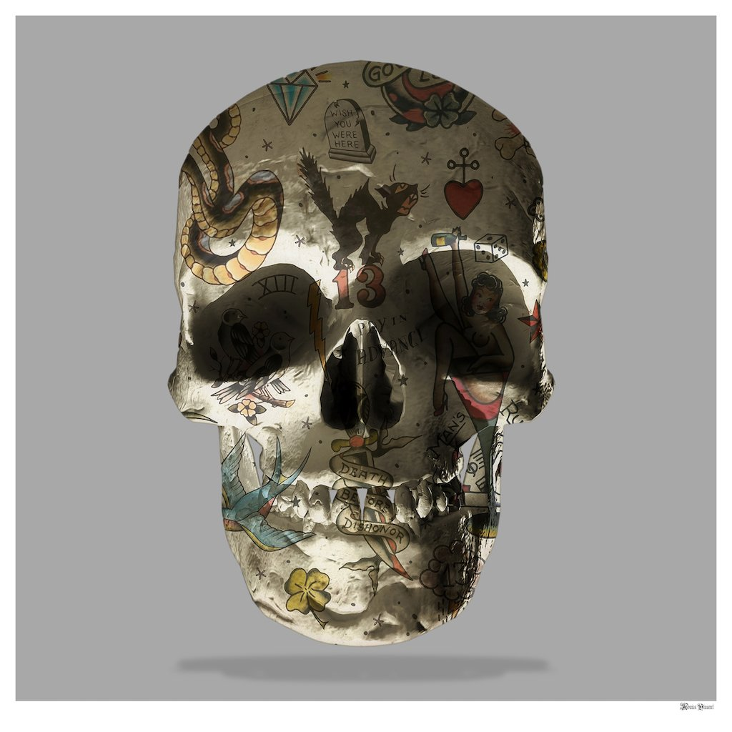 Tattoo Skull (Grey Background) - Small - Framed by Monica Vincent