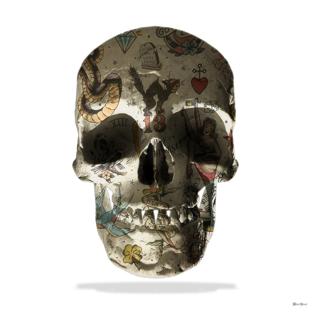 Tattoo Skull (White Background) - Large by Monica Vincent