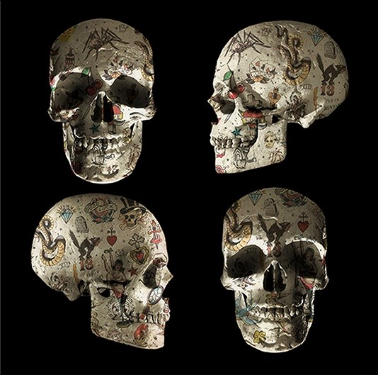 Tattoo Skulls - Four Skulls (Black Background) - Large - Mounted - Mounted by Monica Vincent