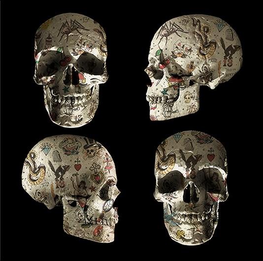 Tattoo Skulls - Four Skulls (Black Background) - Small  by Monica Vincent