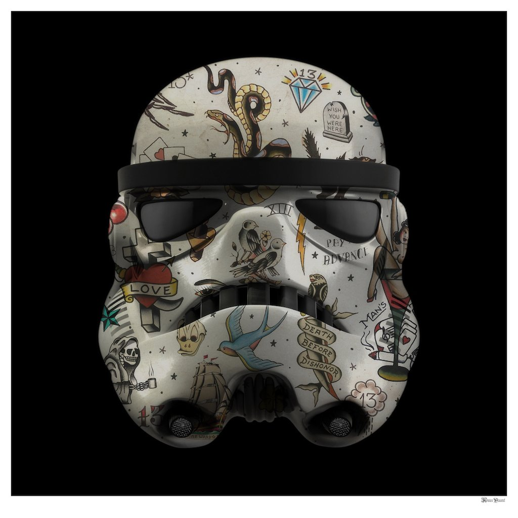 Tattoo Storm Trooper (Black Background) - Large by Monica Vincent