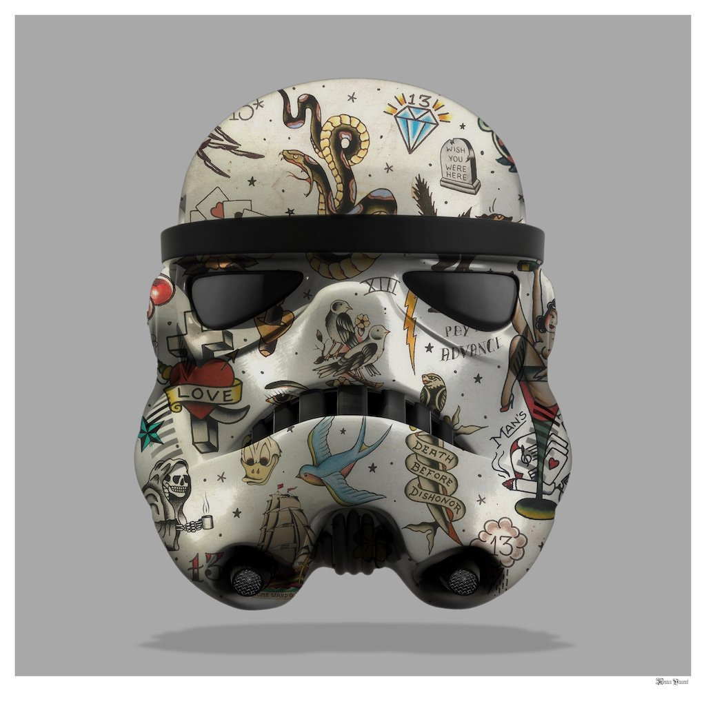 Tattoo Storm Trooper (Grey Background) - Small  by Monica Vincent