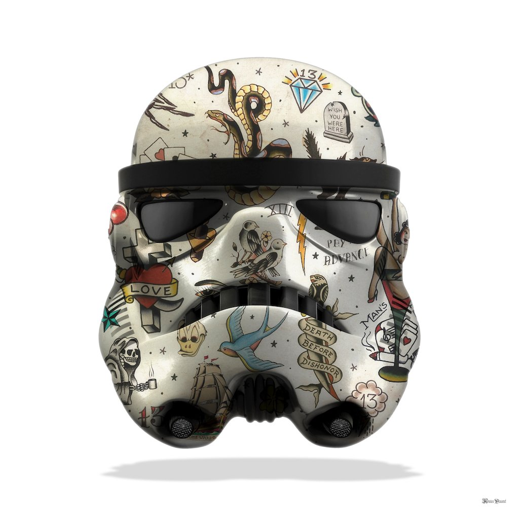 Tattoo Storm Trooper (White Background) - Large - Framed by Monica Vincent