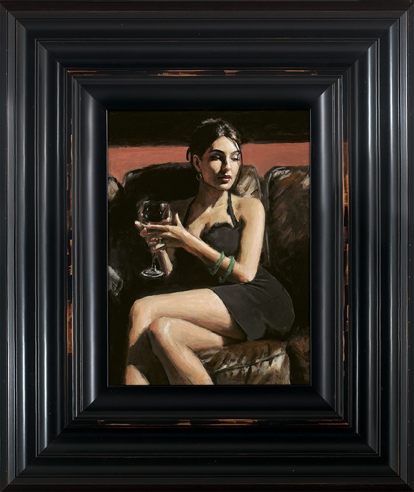 Tess On Leather Couch - Framed by Fabian Perez