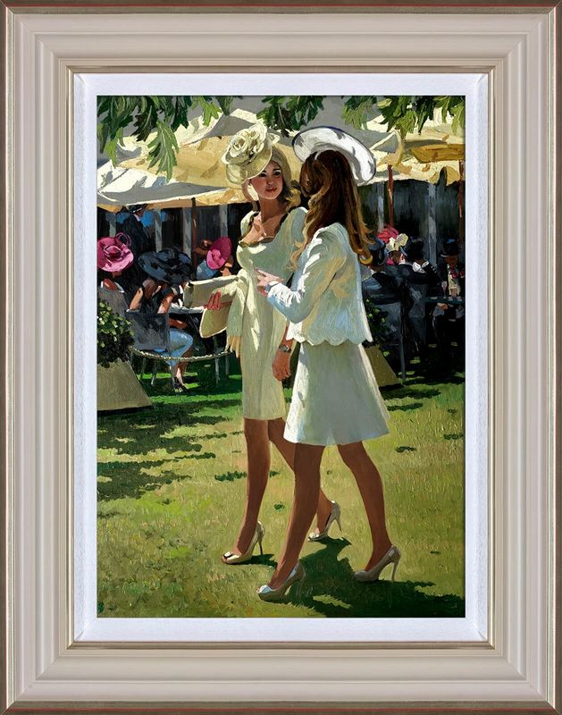 The Colour And Glamour Of Ascot - Cream - Framed by Sherree Valentine Daines