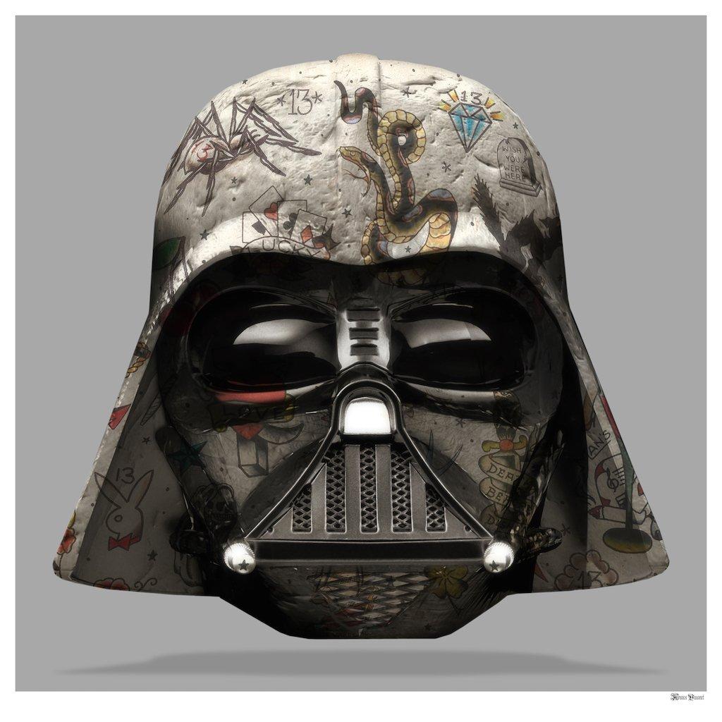 The Dark Lord - Darth Vader (Grey Background) - Large - Framed by Monica Vincent