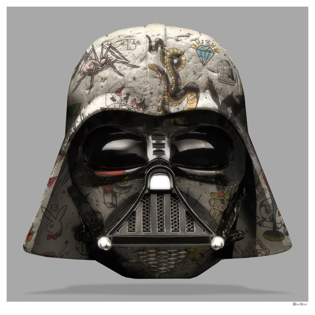 The Dark Lord - Darth Vader (Grey Background) - Small  by Monica Vincent