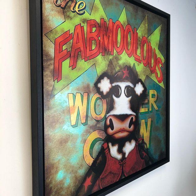 The Fabmoolous Wonder Cow - Aluminium Framed - Box Canvas by Caroline Shotton