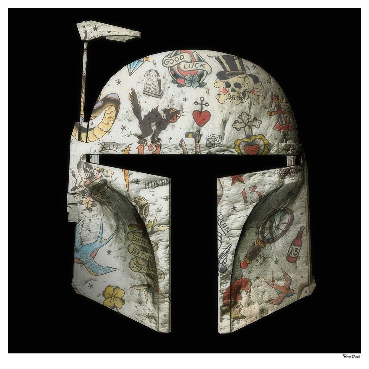 The Fett - Boba Fett (Black Background) - Large - Framed by Monica Vincent