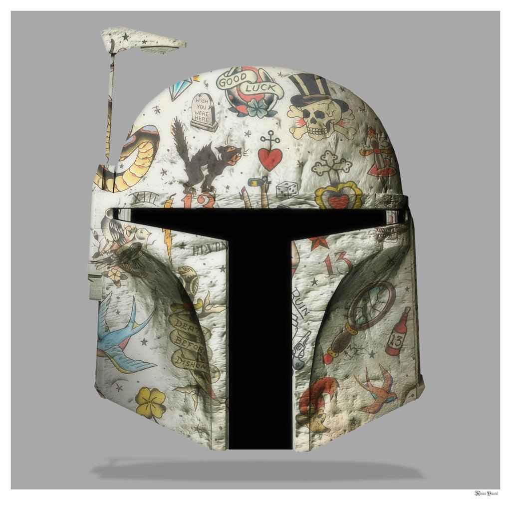 The Fett - Boba Fett (Grey Background) - Small  by Monica Vincent