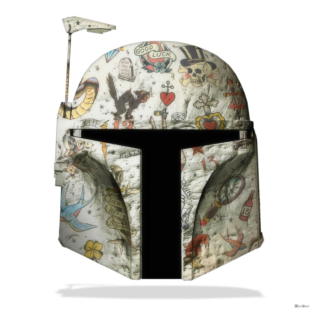 The Fett - Boba Fett (White Background) - Large - Framed by Monica Vincent