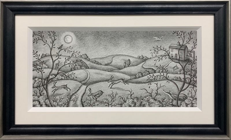 The Mad Mad Moonlight - Original Drawing - Framed by Paul Horton