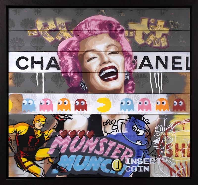 There's So Much To Smile About Marilyn Monroe #2 - Original - Black - Framed by Zombi *Zombiedan