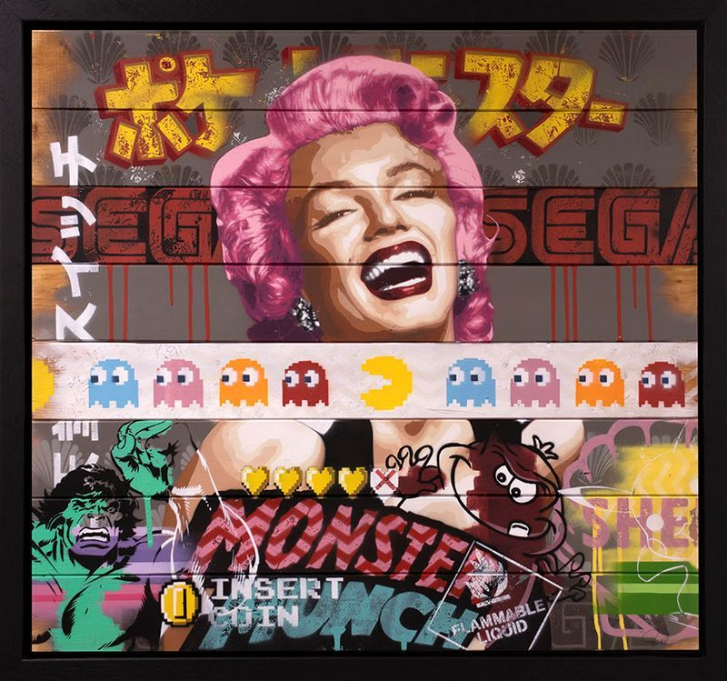There's So Much To Smile About Marilyn Monroe #4 - Original - Black - Framed by Zombi *Zombiedan