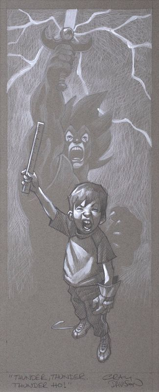 Thunder, Thunder, Thunder Cats Hoooo - Sketch - Mounted by Craig Davison