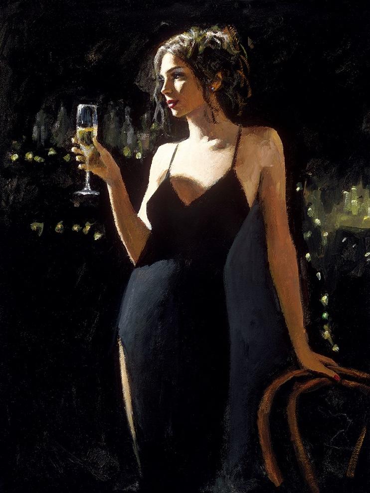 Tiffany With Champagne by Fabian Perez