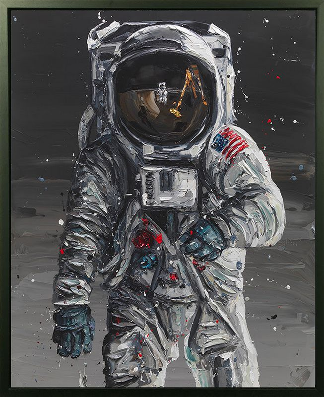 To The Moon - Canvas - Black Framed - Mounted by Paul Oz