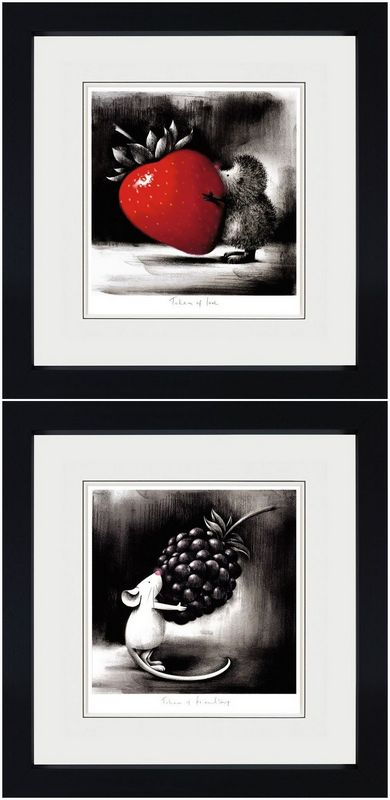 Token Of Love & Token Of Friendship (Set Of 2) - Black Framed by Doug Hyde