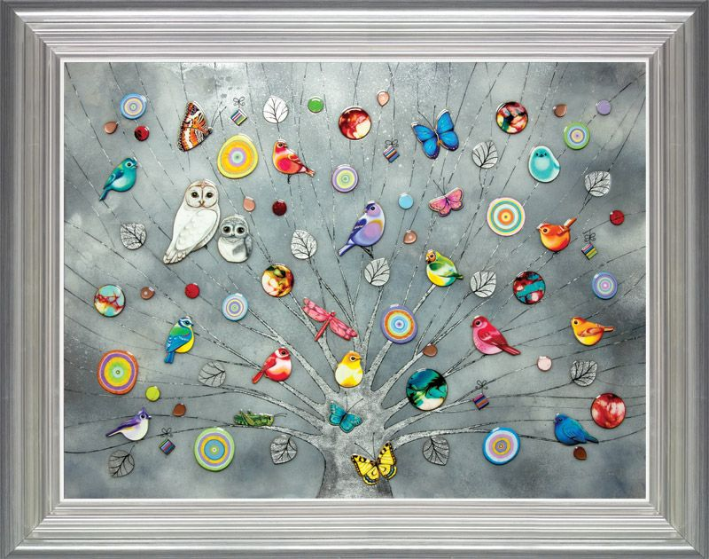 Tree of Life - Platinum XL Edition - Silver-Blue - Framed by Kerry Darlington