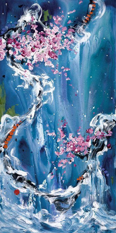 Trilogy of Wonder II - White Framed Box Canvas by Danielle O'Connor Akiyama
