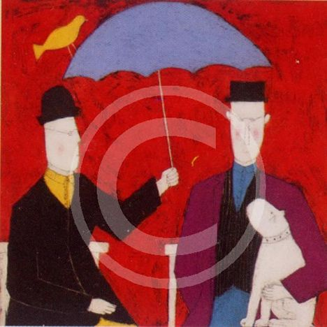 Under The Umbrella - Red - Print only by Annora Spence