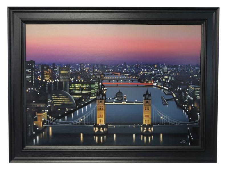 Up River - Black - Framed by Neil Dawson