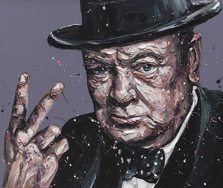 V For Victory - Sir Winston Churchill - Canvas - Black - Framed by Paul Oz