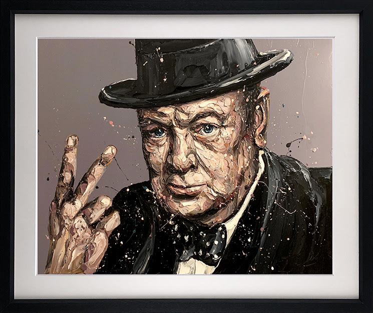 V Is For Victory (Sir Winston Churchill) - Framed