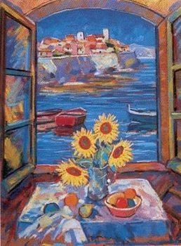 View Of Antibes (Sunflowers) - Framed by John Holt