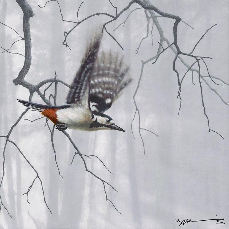 Woodpecker - Taking Flight - Original by Nigel Hemming