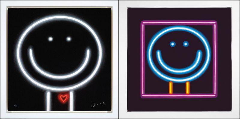 Heart Throb & You Light Up My World (Set Of 2) - White Framed by Doug Hyde