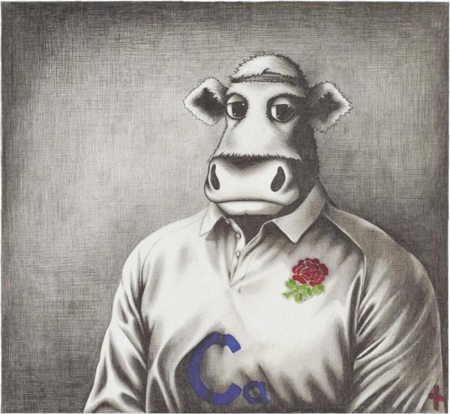 Rugby Bull Sketch Co Signed by Tom Croft - Mounted by Caroline Shotton