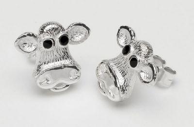 Moo - Sterling Silver Earrings by Caroline Shotton