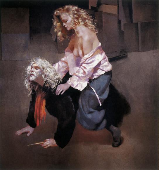 Painter With Lisa by Robert Lenkiewicz