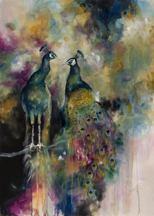 Devine (Peacocks) - Canvas - Framed by Katy Jade Dobson