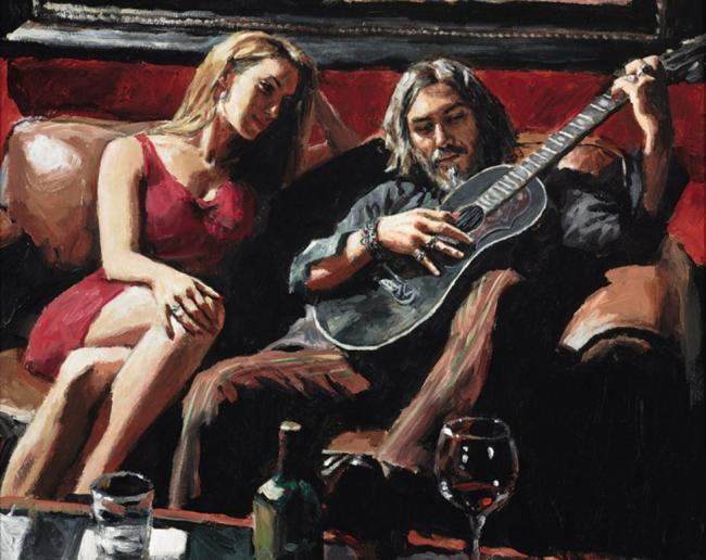 Self Portrait with Girl and Guitar