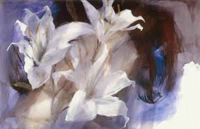 Lillies (canvas) by Christine Comyn
